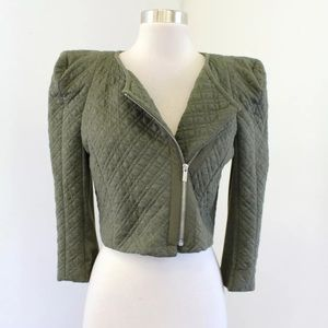 BCBG Max Azria Olive Quilted Cropped Moto Jacket